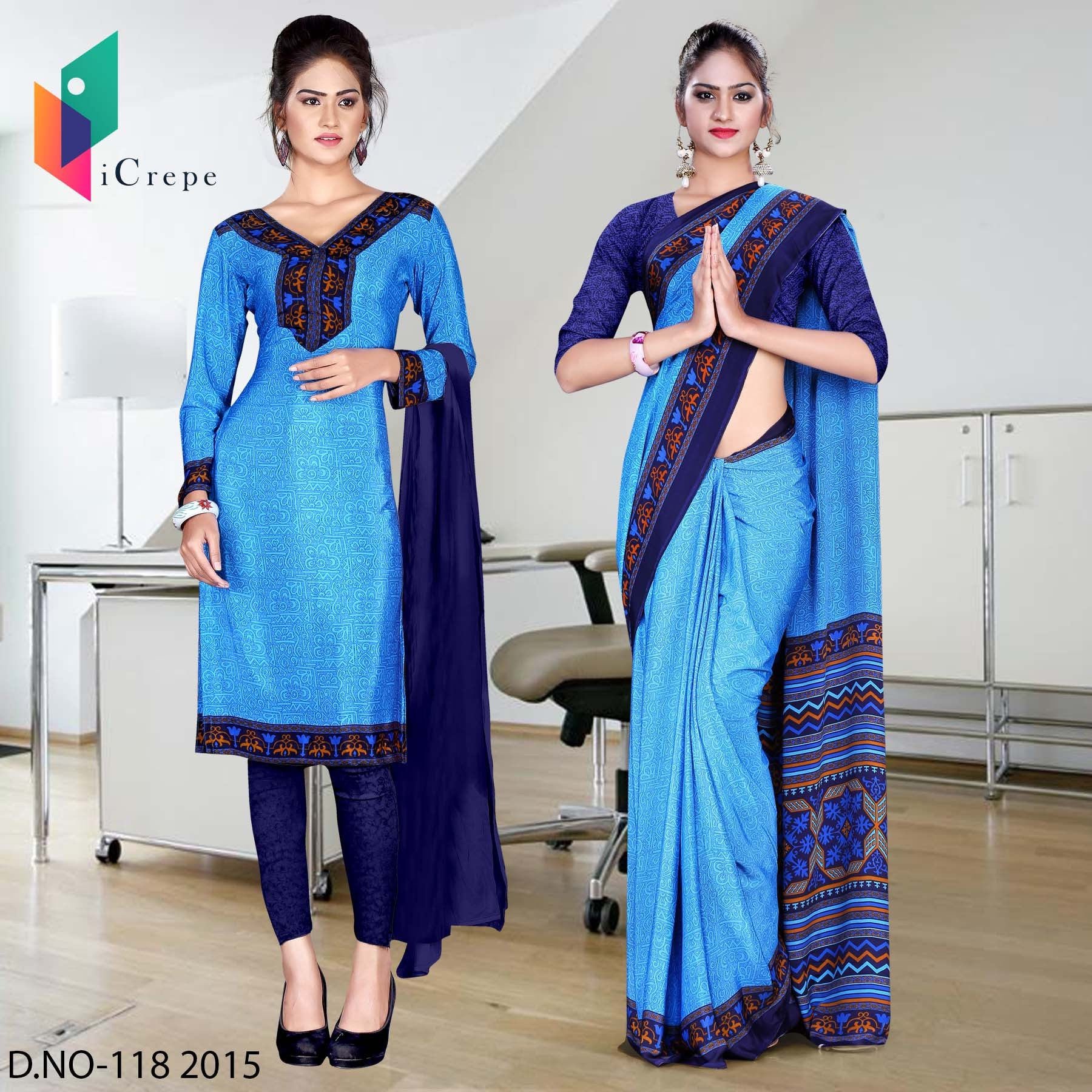 Blue with navy blue border Italian crepe uniform saree