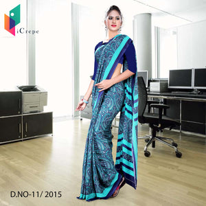 Blue with border Italian crepe uniform saree