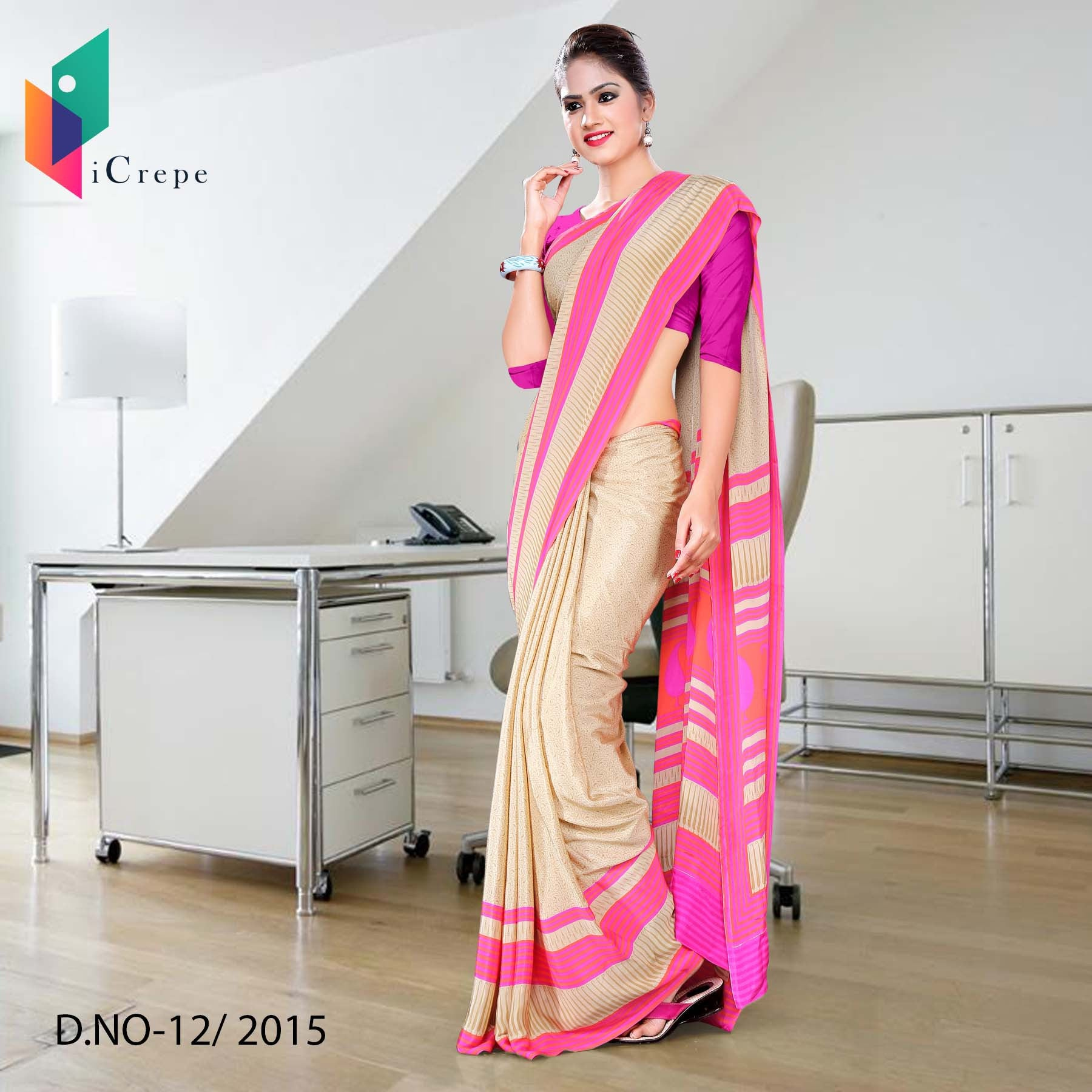 Beige with pink border Italian crepe uniform saree