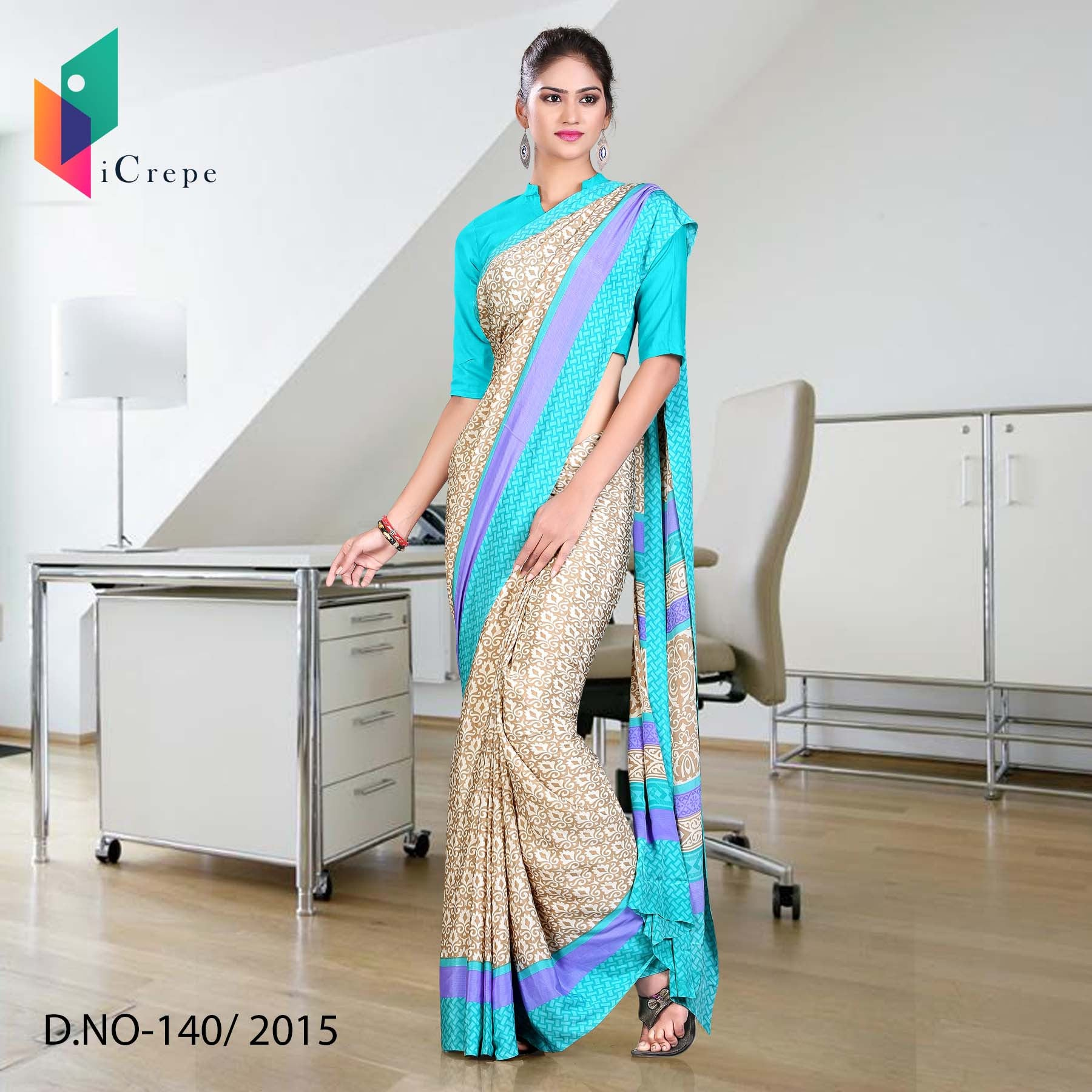 Beige with sky blue border Italian crepe uniform saree