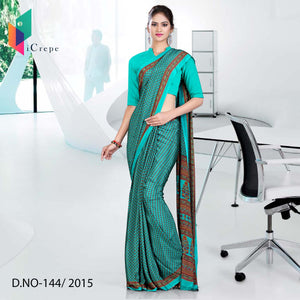 Green with brown border Italian crepe uniform saree