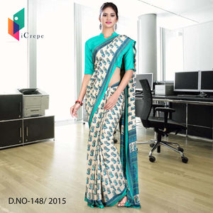 Cream with green border Italian crepe uniform saree