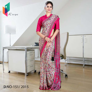 Cream and magenta Italian crepe uniform saree
