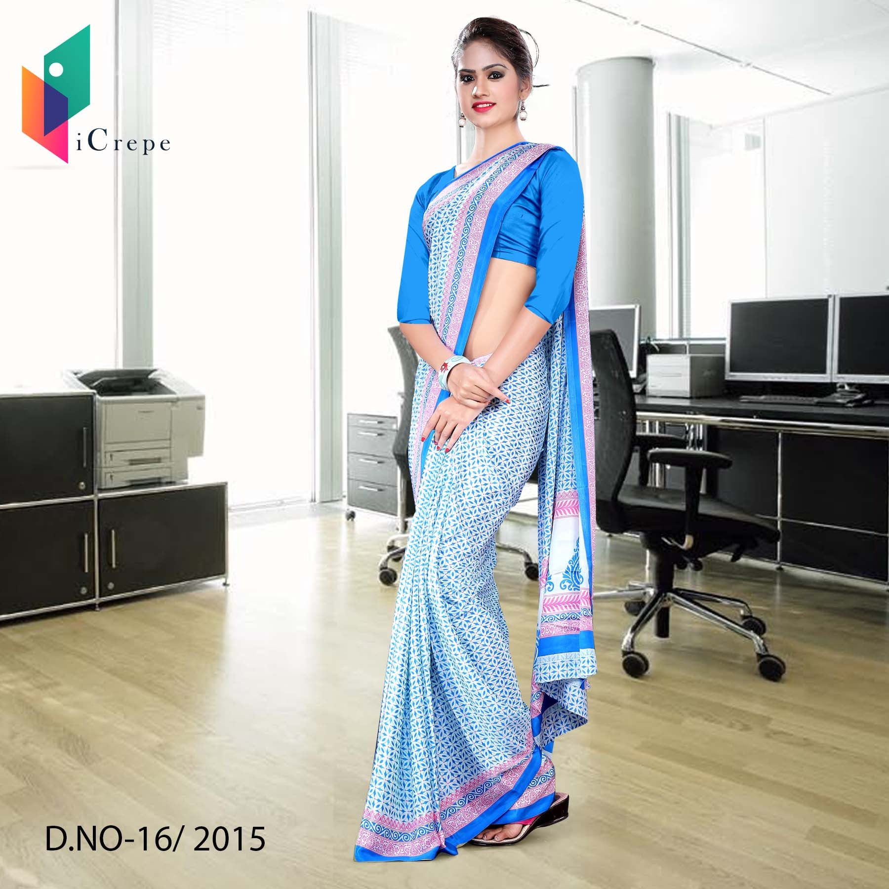 White and blue Italian crepe uniform saree