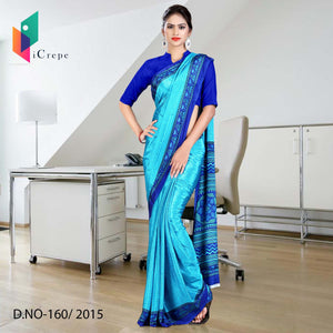 Sky blue with dark blue border Italian crepe uniform saree
