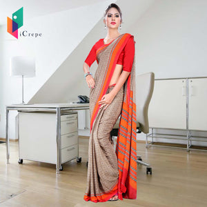 Brown and orange Italian crepe uniform saree