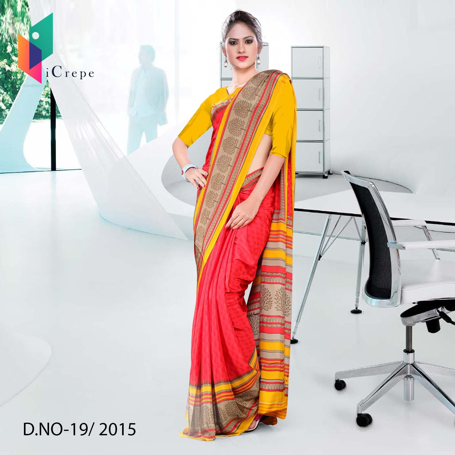 Red with brown border Italian crepe uniform saree