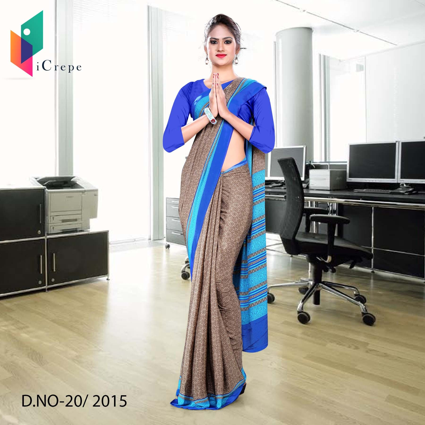 Brown with blue border Italian crepe uniform saree