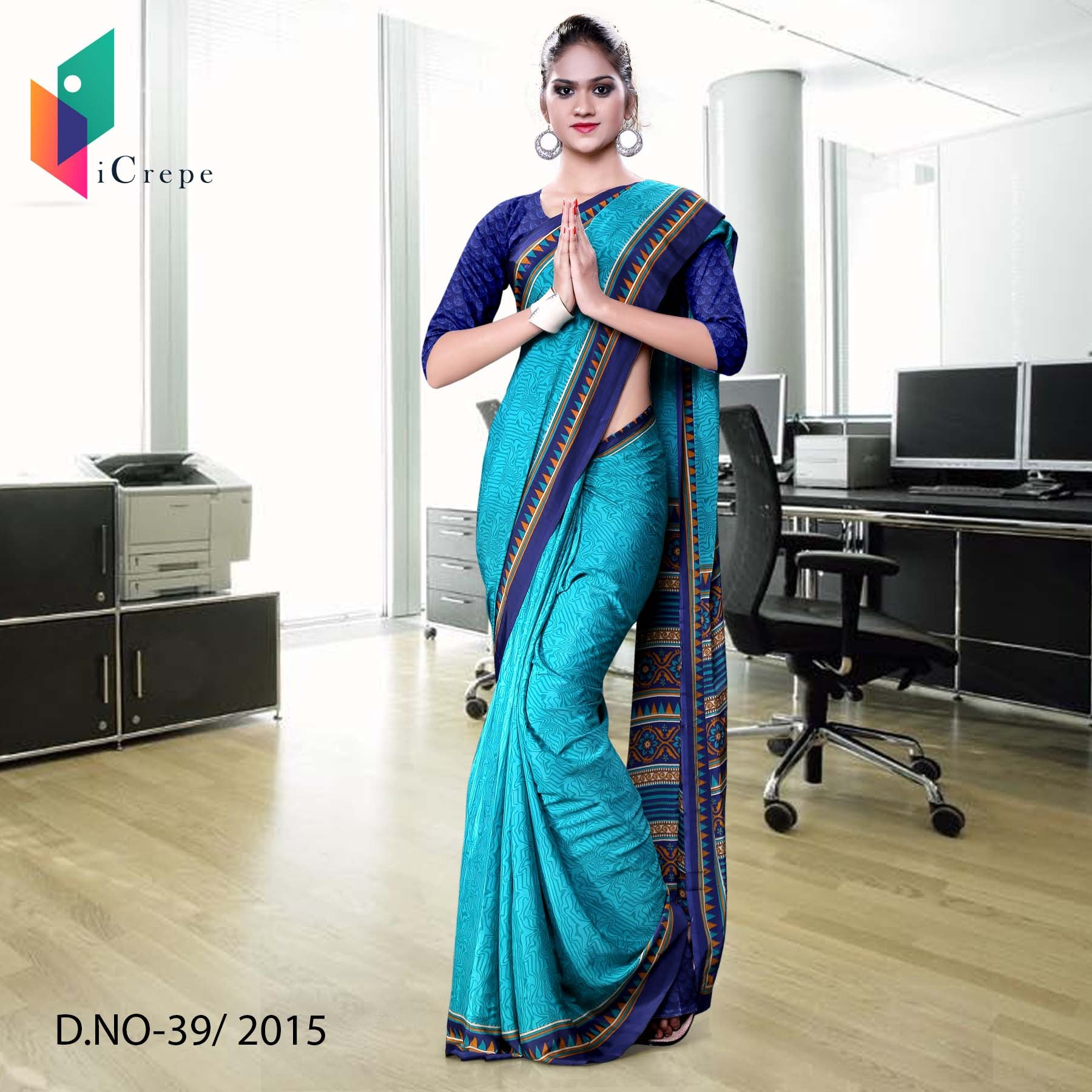 Light blue with dark blue border Italian crepe uniform saree