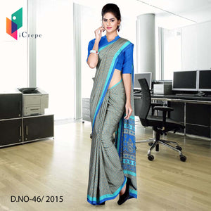 Blue and green Italian crepe uniform saree