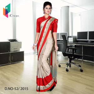Beige and red Italian crepe uniform saree