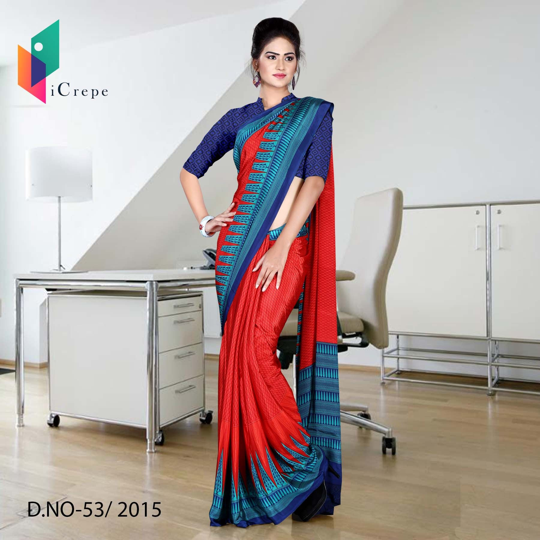 BROWN AND RED ITALIAN CREPE SILK AIR HOSTESS UNIFORM SAREE