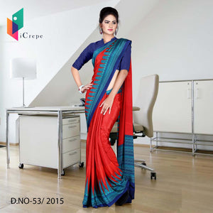 Red with blue border Italian crepe uniform saree