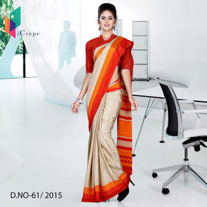 Beige with orange red border Italian crepe uniform saree