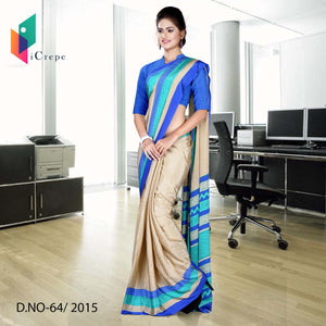 Beige with blue border Italian crepe uniform saree