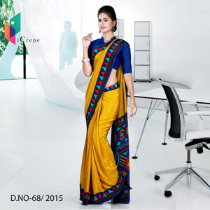 Yellow with blue border Italian crepe uniform saree