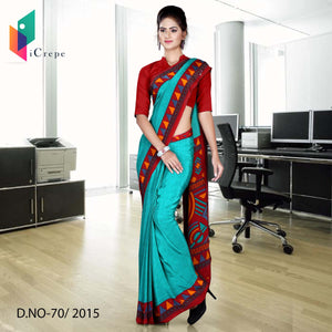 Green with maroon border Italian crepe uniform saree