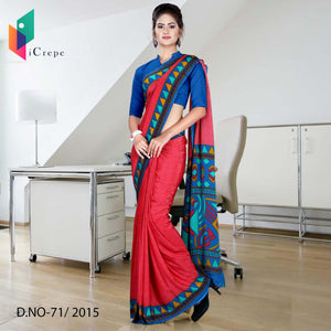 Red and blue Italian crepe uniform saree