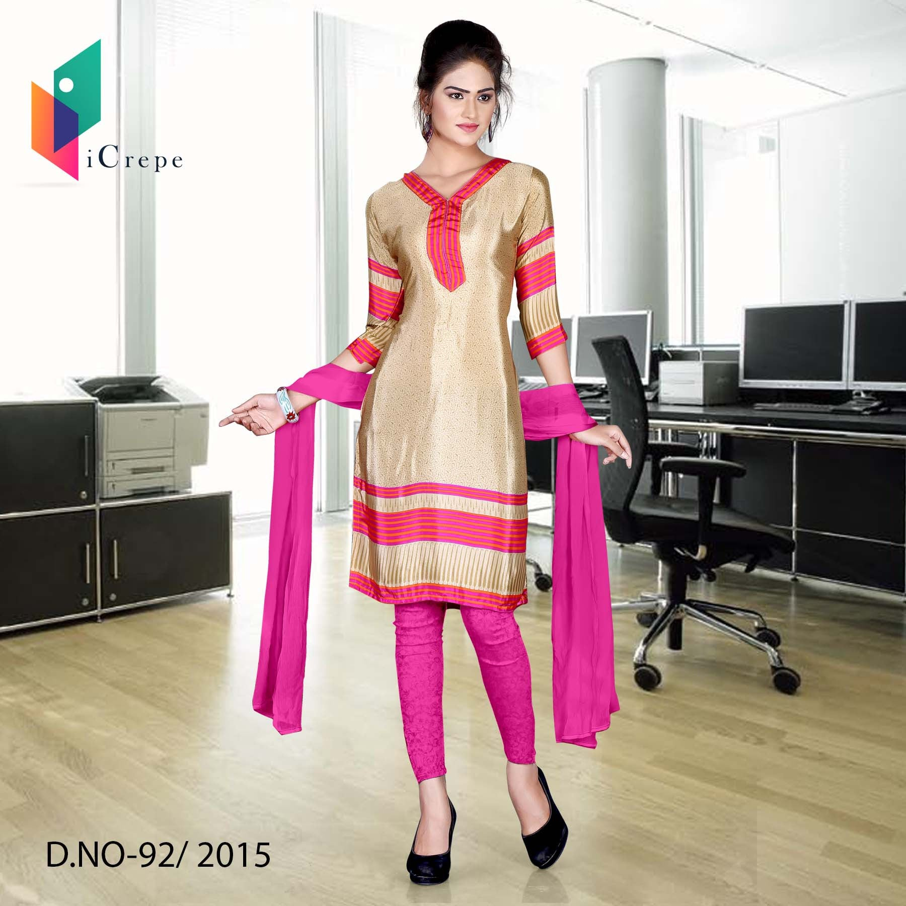 Beige and pink Italian crepe uniform salwar kameez