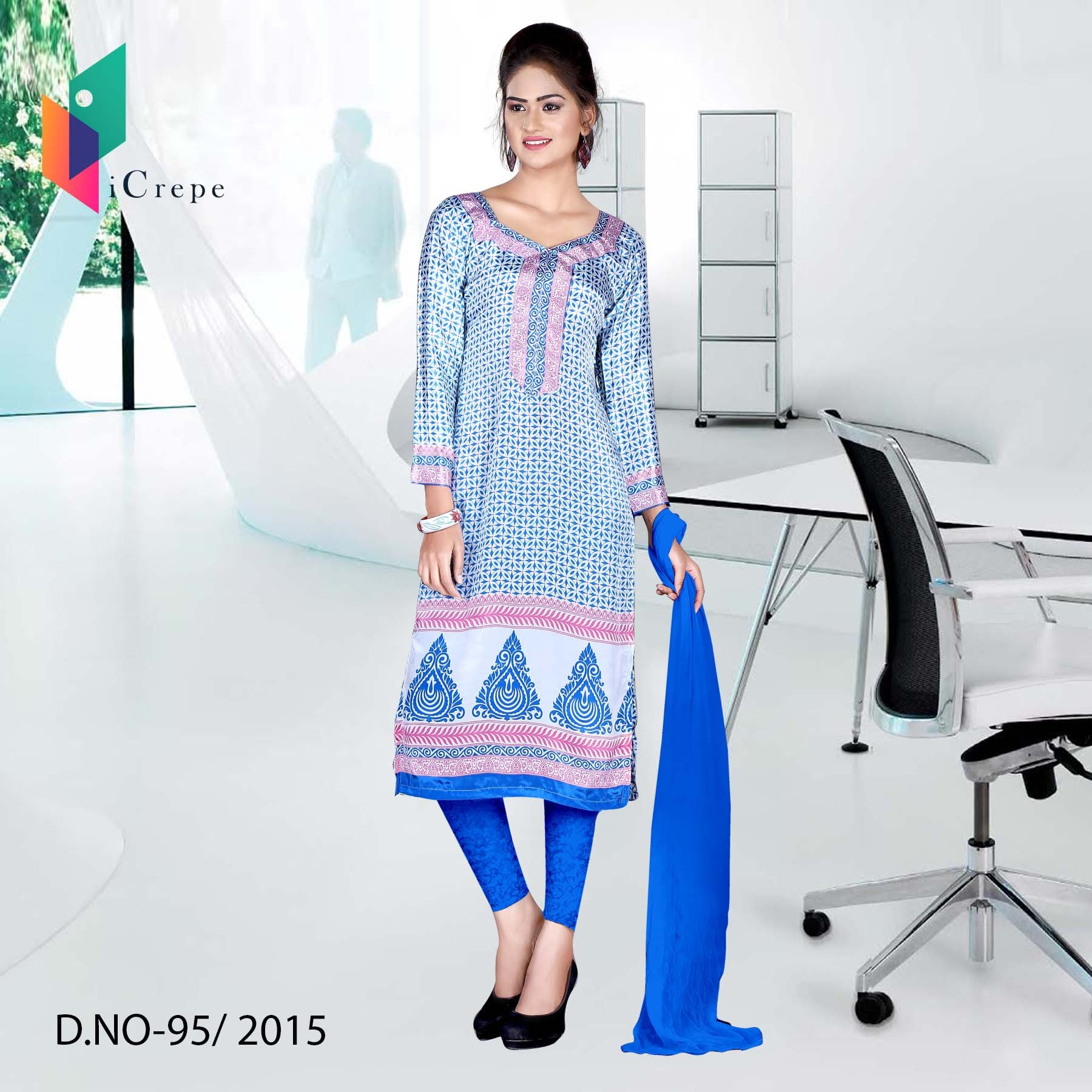 White and blue Italian crepe uniform salwar kameez