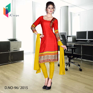 Red and yellow Italian crepe uniform salwar kameez