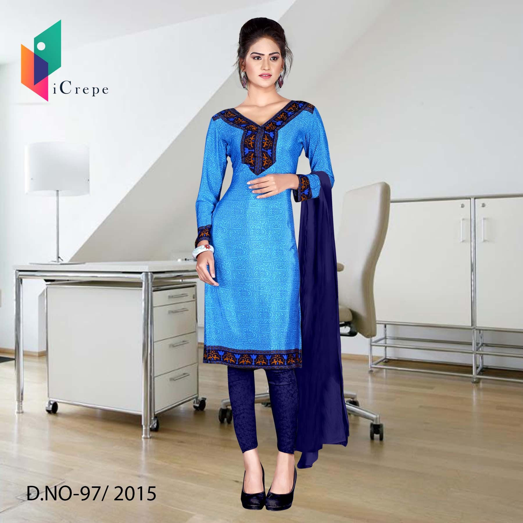 Blue with dark blue border Italian crepe uniform salwar kameez