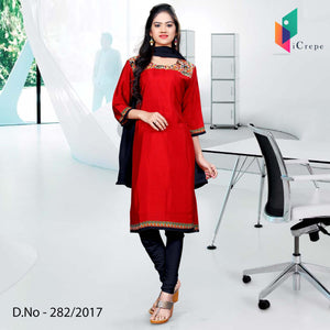 Red and black Italian Crepe Uniform Salwar Kameez
