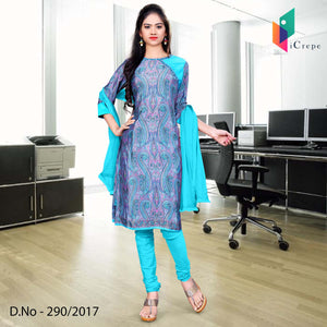Sky blue and purple Italian Crepe Uniform Salwar Kameez