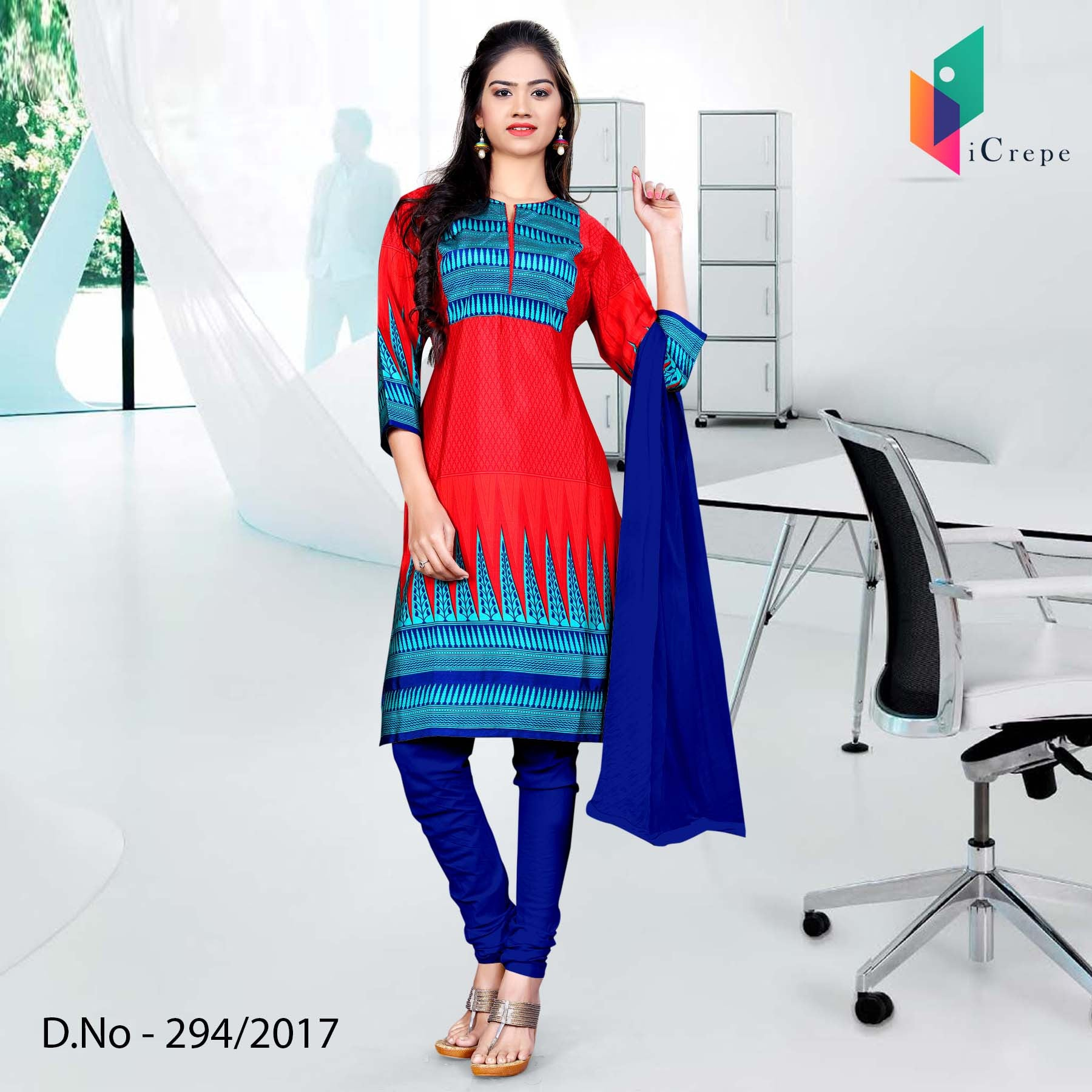 Red and blue Italian Crepe Uniform Salwar Kameez