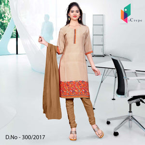 Beige and Brown Italian Crepe Uniform Salwar Kameez