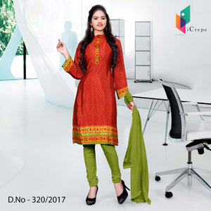 Red and light green Italian Crepe Uniform Salwar Kameez
