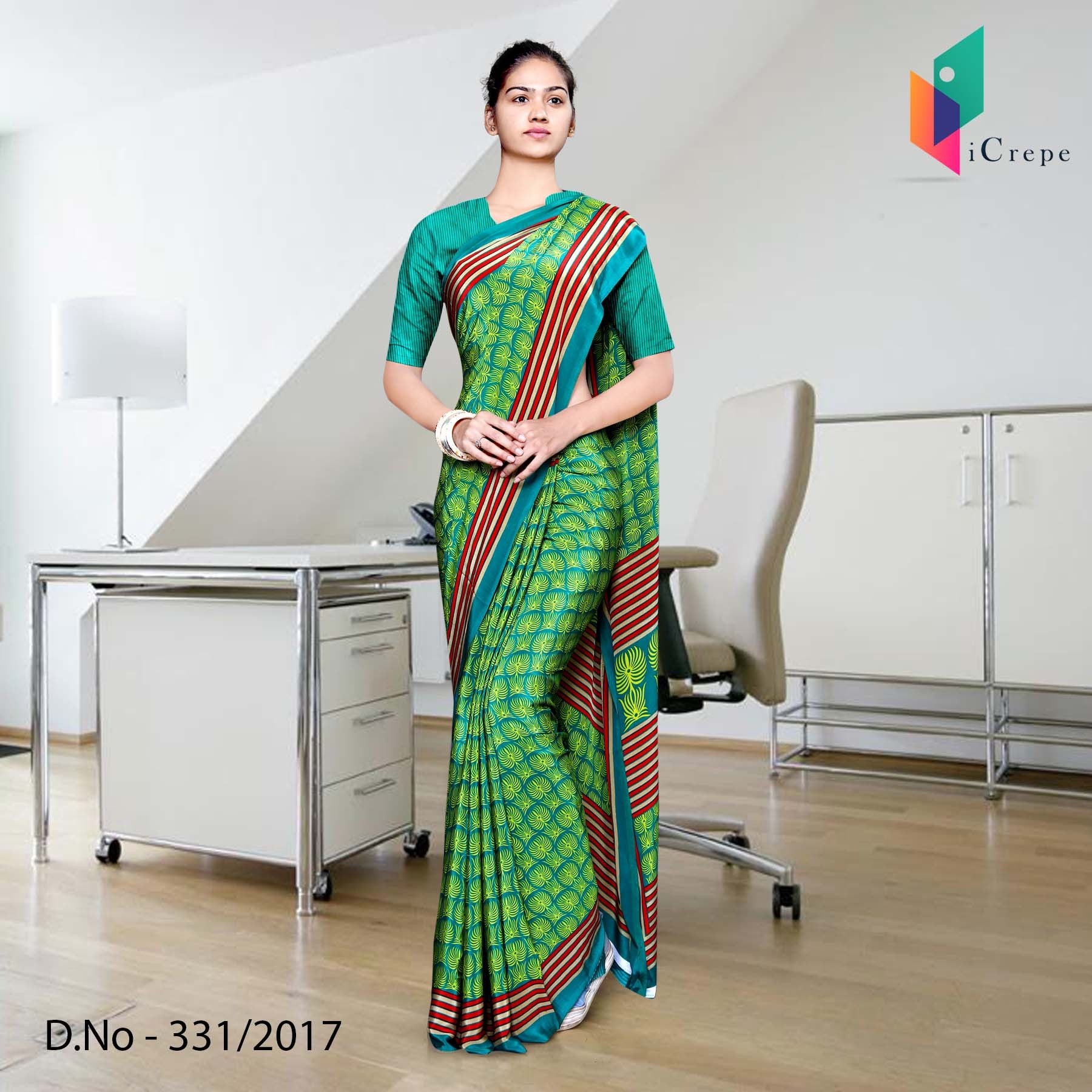 Green and Red Italian Crepe Uniform Saree