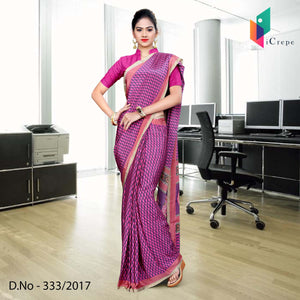 Magenta and pink Italian Crepe Uniform Saree