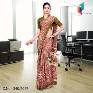 Brown and pink Italian Crepe Uniform Saree