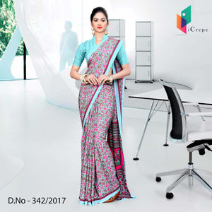 Pink and sky blue Italian Crepe Uniform Saree