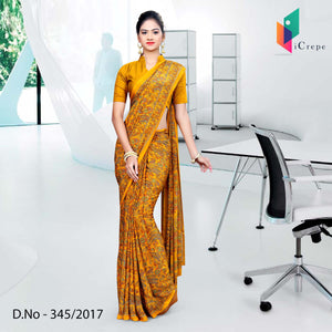 Orange Italian Crepe Uniform Saree