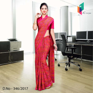 Pink Italian Crepe Uniform Saree