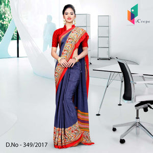 Blue and red Italian Crepe Uniform Saree