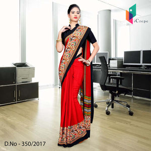 Red with black border Italian Crepe Uniform Saree