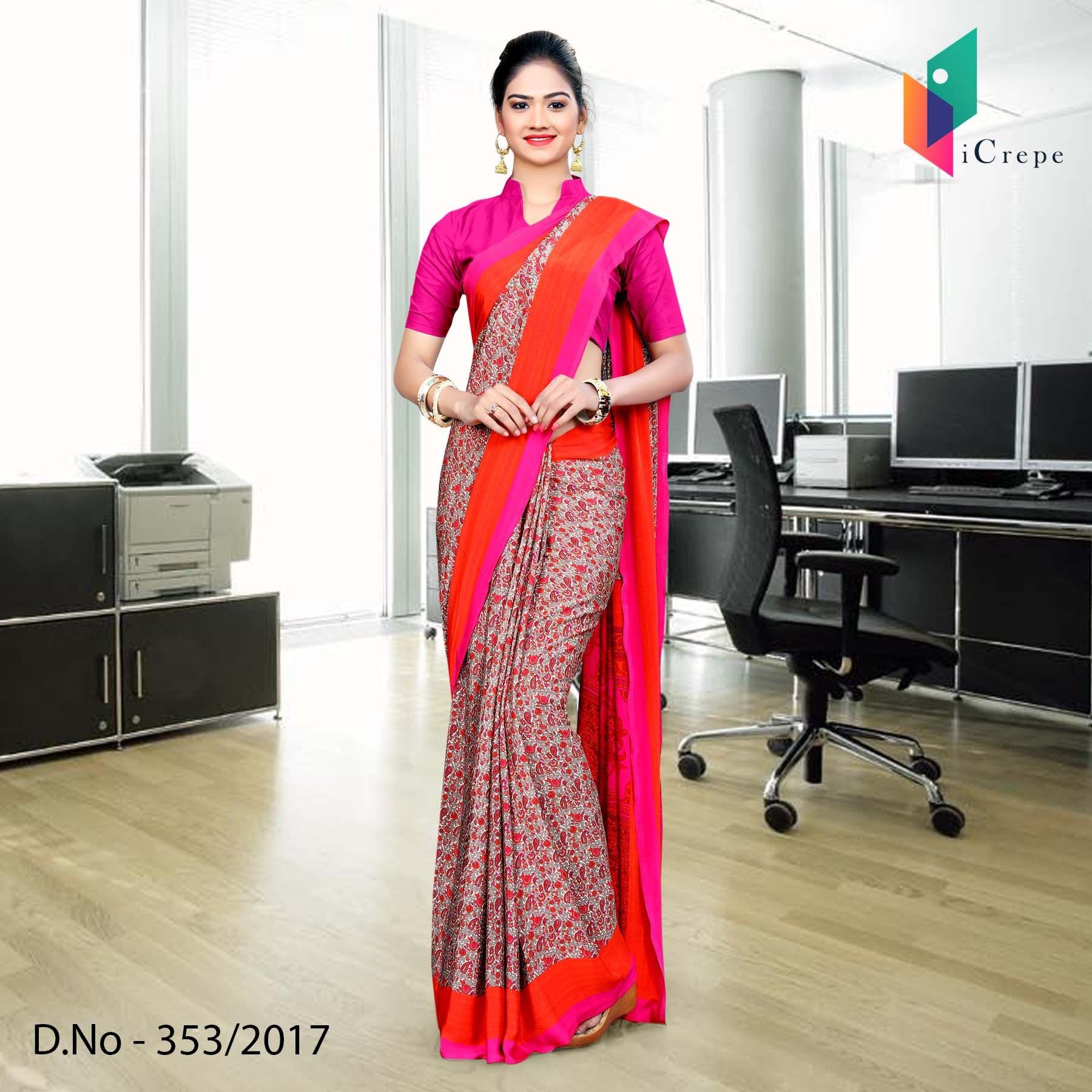 Pink and grey Italian Crepe Uniform Saree