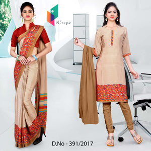 Beige and Red Italian Crepe Uniform Saree Salwar Combo