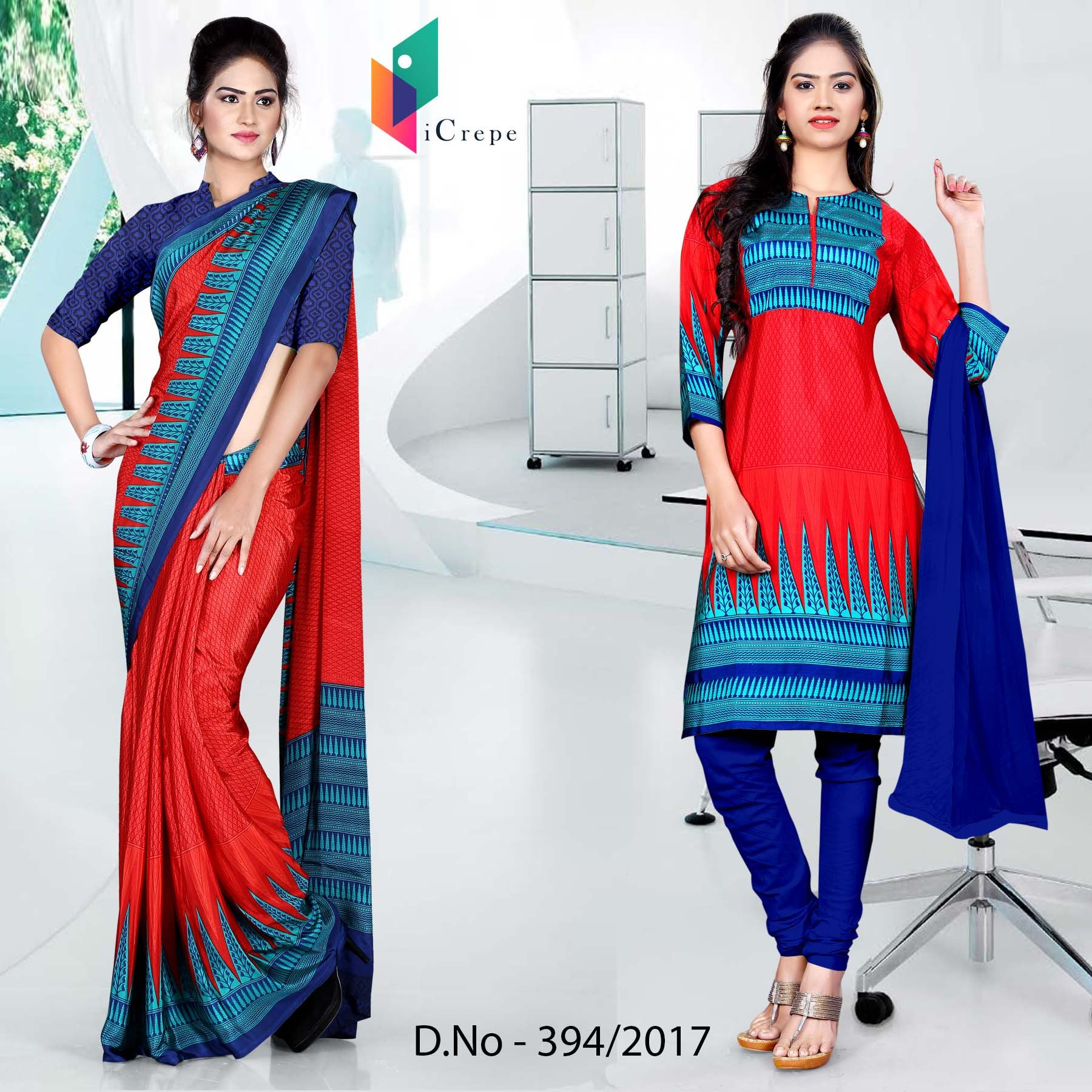 Blue and red Italian Crepe Uniform Saree Salwar Combo