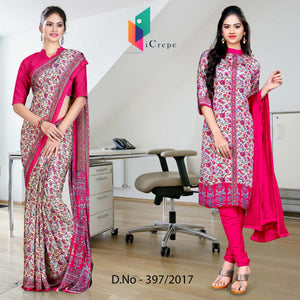 Pink and cream Italian Crepe Uniform Saree Salwar Combo