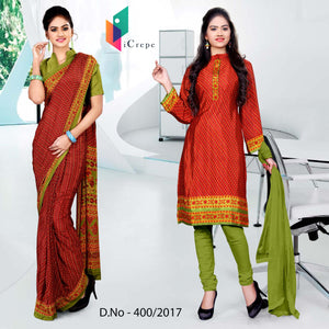 Red and green Italian Crepe Uniform Saree Salwar Combo