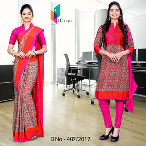 Pink and orange Italian Crepe Uniform Saree Salwar Combo