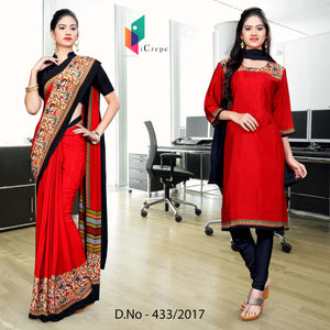 Red and black Italian Crepe Uniform Saree Salwar Combo
