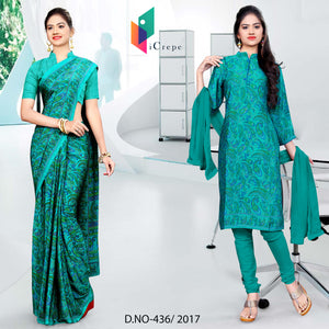 Sea green Italian Crepe Uniform Saree Salwar Combo