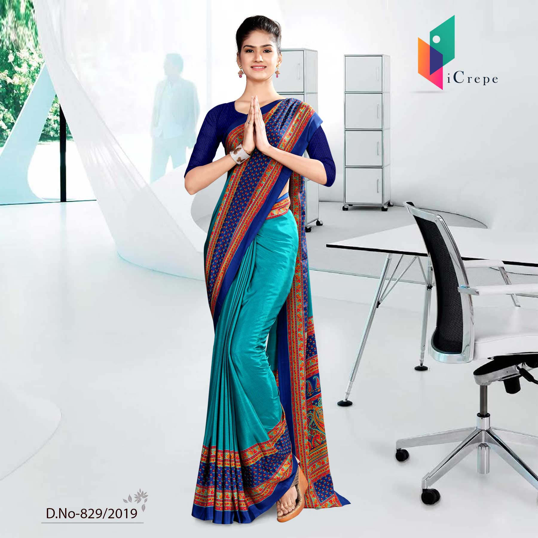 LIGHT BLUE AND BLUE   ICREPE  CORPORATE UNIFORM SAREE