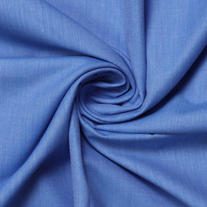 Blue Plain Men's Cotton Corporate Uniforms Unstitched Shirt Fabric