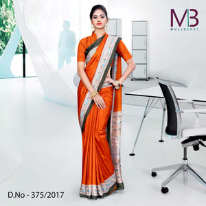 Brown and orange Mulberry silk uniform saree